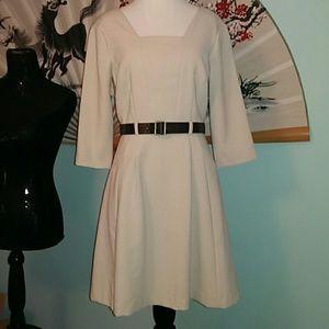 Pretty Neckline 3/4 Sleeve Belted Low Back Dress
